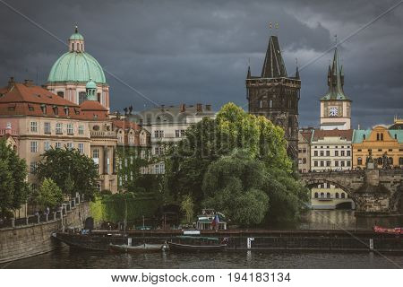 Powder Tower on the background of the severe storm clouds, Prague, Czech Republic