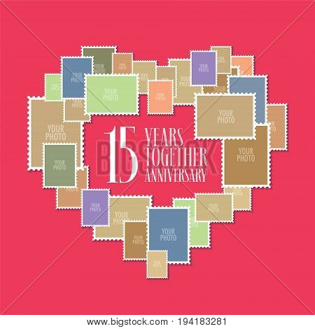 15 years of wedding or marriage vector icon illustration. Template design element with photo frames and heart shape for celebration of 15th wedding anniversary