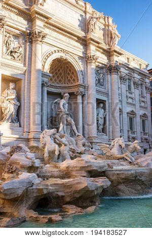 Palazzo Poli, triumphal arch and Oceanus on Trevi fountain in Rome, autumn Italy