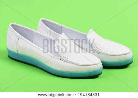 Summer Fashion And Casual Lifestyle Concept. Moccasins For Women