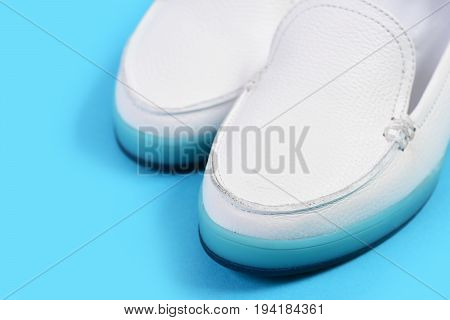 Low Heel Footwear In Sports Style. Pair Of Female Shoes