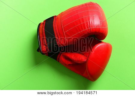 Pair Of Leather Boxing Sportswear. Sport Equipment On Bright Green