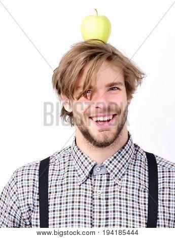 Guy With Fresh Fruit, Isolated On White Background