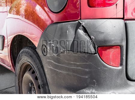 Close up of a car scratched in accident