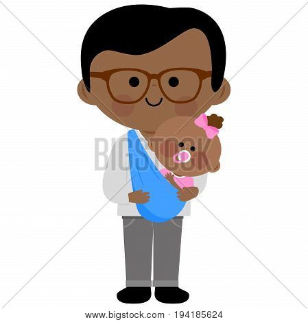 Vector Illustration of a dad carrying his baby daughter in a baby sling.