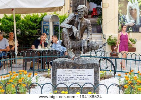 CORFU ISLAND, GREECE - JUNE 26, 2017: Kostas Georgakis statue in Corfu island, Greece