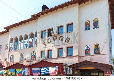 CORFU ISLAND, GREECE - JUNE 26, 2017: Icons shop in Corfu island Greece