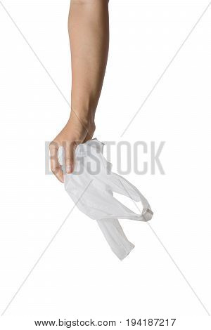 Hand catch white plastic bag isolated on white background. File contains a clipping path.