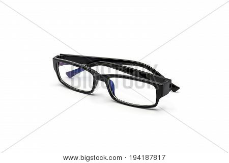 Black glasses protect against blue light from a computer monitor isolated on white background.