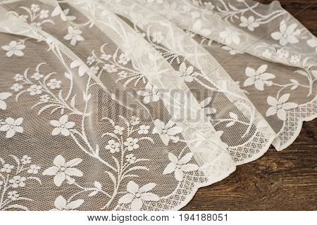 Close Up Of Beautiful White Tulle. Sheer Curtains Fabric Sample. Texture, Background, Pattern. Weddi