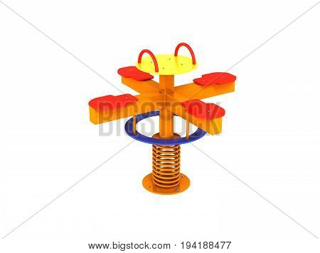 Playground Spring Blue Red Yellow 3D Render On White Background No Shadow