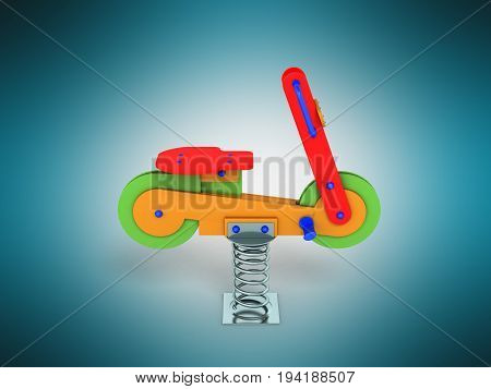 Playground Spring Motorcycle 3D Render On Blue Background