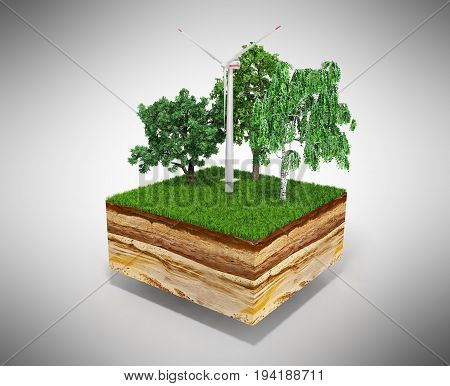 Concept Of Alternative Energy 3D Illustration Of Cross Section Of Ground With Grass On Grey