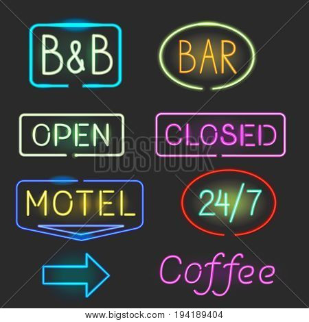 Neon logo sign icon set. Motel bar open closed signboard coollection.