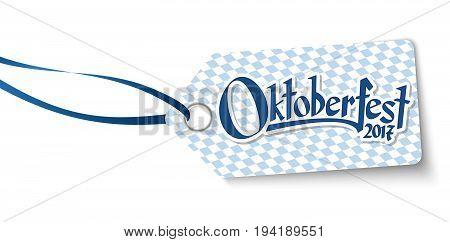 Hangtag With Text Willkommen Zum Oktoberfest 2017
