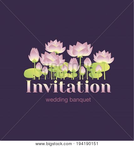 lotus lilies decorative floral invitation card template. vector illustration