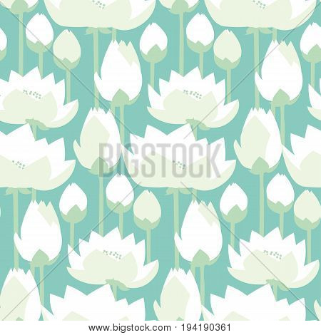 flat design lotus lilies decrataive seamless pattern. vector illlustration