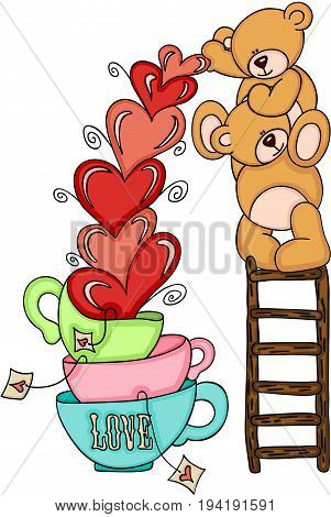 Scalable vectorial image representing a teddy bears on top ladder with hearts love cups, isolated on white.