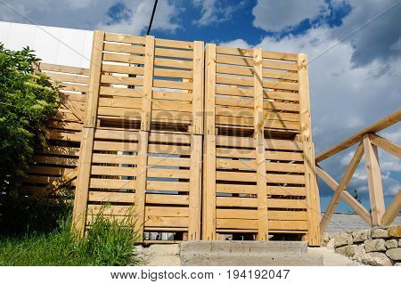 Wood Pallets Arranged In Row