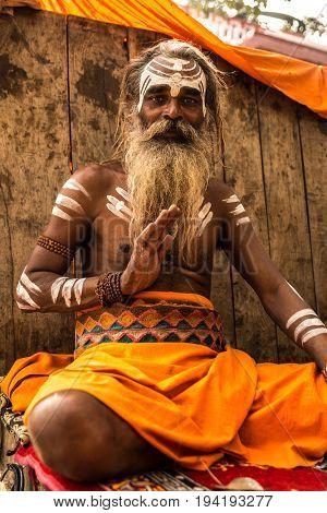 Sadhu man in Varanasi, India