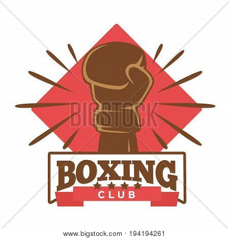 Boxing five-star club emblem with hand in brown glove and red rhombus behind isolated vector illustration on white background. Sport community for professionals and amateurs promotional logotype.