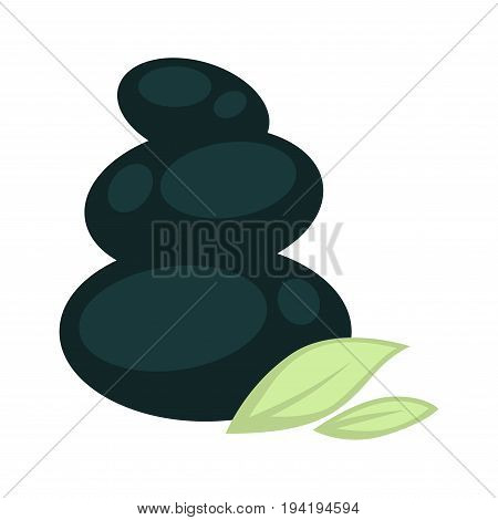 Smooth special black stones for massage placed one on another from biggest to smallest and green leaves at bottom vector illustration on white background. Natural equipment for beauty procedures.