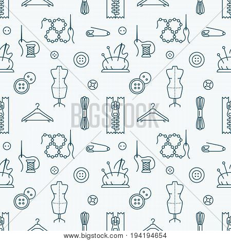 Sewing equipment, tailor supplies seamless pattern with flat line icons set. Needlework accessories - sewing needle, thread, DIY tools. White and blue backdrop with linear signs for hand made store.