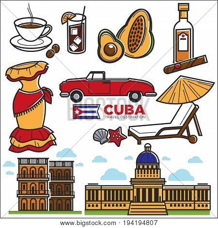 Cuba sightseeing landmarks and famous vector travel attractions poster. Vector icons of Cuban flag, Havana cigar or rum and retro car, cathedral and Capitol building