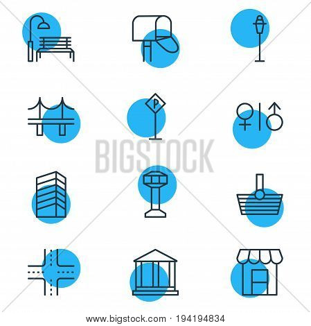 Vector Illustration Of 12  Icons. Editable Pack Of Bench, Courthouse, Lamppost And Other Elements.