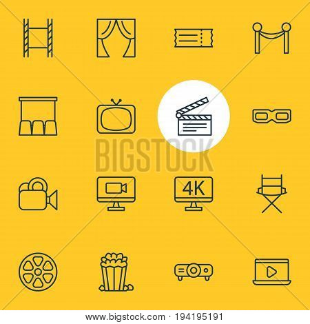 Vector Illustration Of 16 Cinema Icons. Editable Pack Of Spectacles, Filmstrip, Theater And Other Elements.