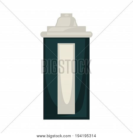 Vector illustration of black and beige colored aerosol tin isolated on white.