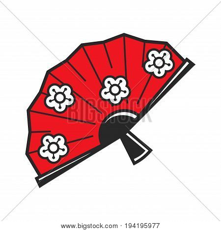 Traditional Japanese red fan with flower pattern and black shiny handle isolated cartoon vector illustration on white background. Medieval womens accessory for hot weather with ethnic ornament.