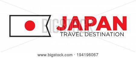 Japan travel destination advertisement with national flag isolated vector illustration on white background. Tourism to Oriental country with delicious cuisine and interesting culture promotion.