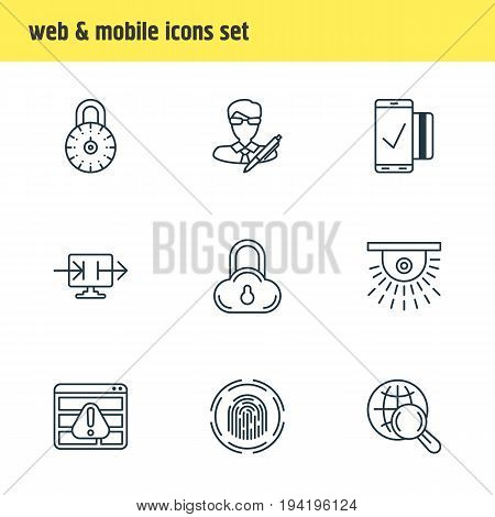 Vector Illustration Of 9 Security Icons. Editable Pack Of Send Information, Internet Surfing, Browser Warning And Other Elements.