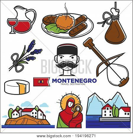Montenegro culture sightseeing landmarks and famous vector travel attractions. Vector Montenegrin flag and map, vine drink and cheese food, traditional national clothes and musical instruments