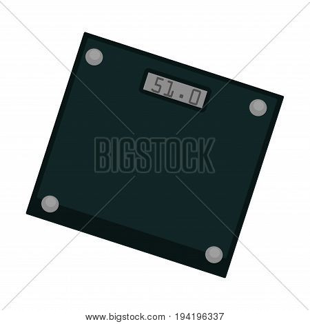 Vector illustration of minimal black colored weighing machine isolated on white.