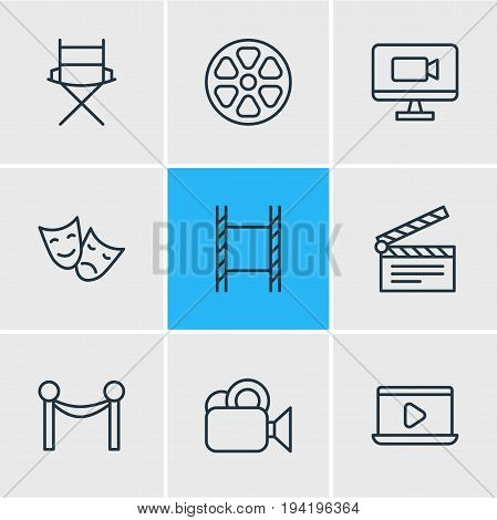Vector Illustration Of 9 Film Icons. Editable Pack Of Movie Reel, Television, Clapper And Other Elements.