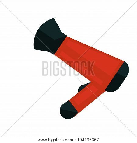 Vector illustration of red and black colored hair dryer isolated on white.