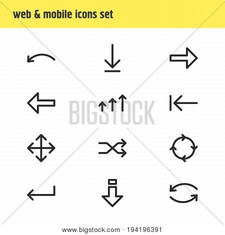 Vector Illustration Of 12 Direction Icons. Editable Pack Of Right, Direction, Loading And Other Elements.
