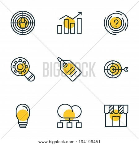Vector Illustration Of 9 Advertising Icons. Editable Pack Of Shop, Aiming, Discount Label And Other Elements.