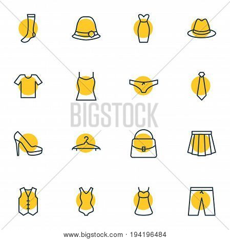 Vector Illustration Of 16 Dress Icons. Editable Pack Of Hosiery, Evening Dress, Cloakroom And Other Elements.