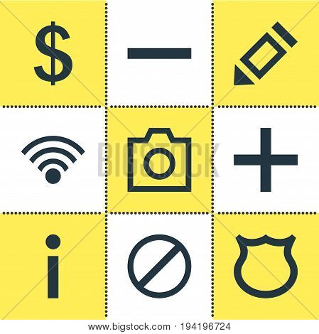 Vector Illustration Of 9 User Icons. Editable Pack Of Shield, Plus, Minus And Other Elements.