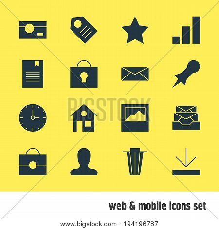 Vector Illustration Of 16 Web Icons. Editable Pack Of Bookmark, Clock, Keyhole And Other Elements.