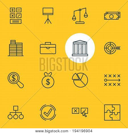 Vector Illustration Of 16 Business Icons. Editable Pack Of Riddle, Magnifier, Tactics And Other Elements.