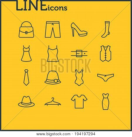Vector Illustration Of 16 Clothes Icons. Editable Pack Of Strap, Evening Dress, Singlet And Other Elements.