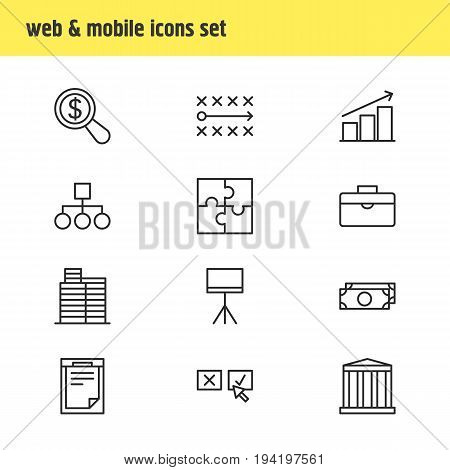 Vector Illustration Of 12 Management Icons. Editable Pack Of Riddle, Recision, Scheme And Other Elements.