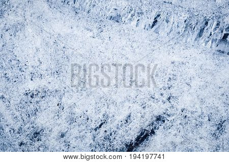 The blue ice. The broken ice floes. the background
