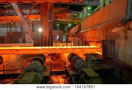 Hot rolling mill workshop at metal steel production