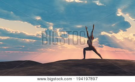 The young woman doing yoga at the top of the hill. This is a 3d render illustration