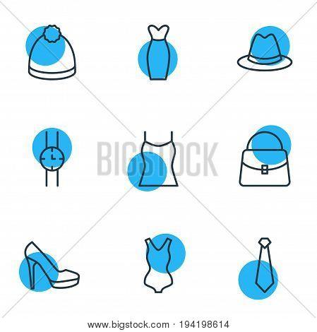 Vector Illustration Of 9 Clothes Icons. Editable Pack Of Cravat, Sandal, Handbag Elements.